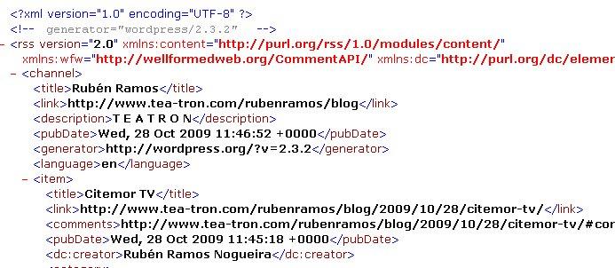 Formato XML del RSS