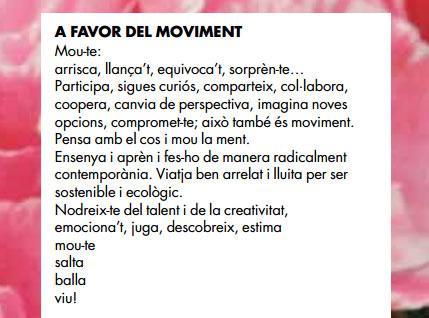 A favor del moviment, segons el Mercat de les Flors