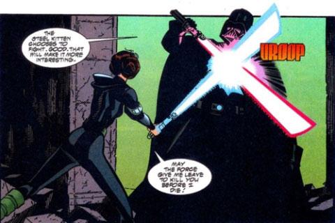 Viñeta de un cómic basado en El ojo de la mente en el que Leia se enfrenta a Darth Vader